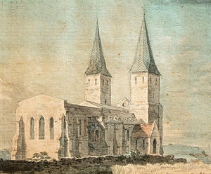 18th-century watercolour of St Mary's Church