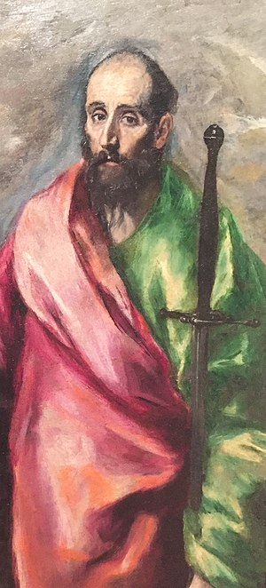 Saint Peter and Saint Paul (El Greco) - Detail of Saint Peter and Saint Paul, by El Greco, showing Paul holding his sword, a symbol of his death.