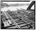 Detail view of swing span track manual alignment and locking mechanisms, looking southwest - India Point Railroad Bridge, Spanning Seekonk River between Providence and East HAER RI,4-PROV,204-16.tif