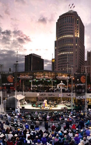 Music of Detroit - View of stage at Hart Plaza looking north toward downtown during the Detroit Jazz Festival
