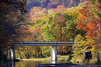 Lee Creek (Arkansas) - The bridge across Lee Creek in Devil's Den State Park near Winslow, Arkansas.