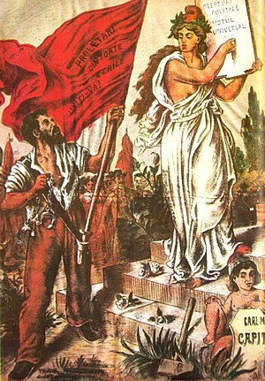 Anton Bacalbașa - PSDMR propaganda in the magazine Lumea Nouă, 1895. The female figure represents social democracy, and the red flag is marked Proletarians of all countries, unite!