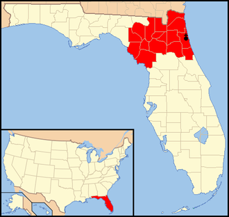Roman Catholic Diocese of St. Augustine - Image: Diocese of St. Augustine map 1