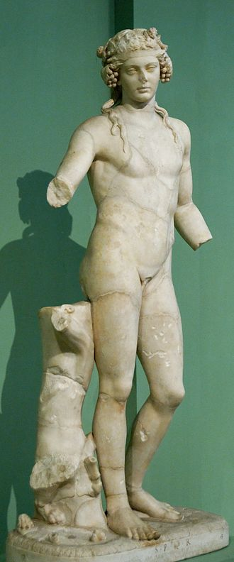 Horti Liciniani - Dionysus of Pentelic marble discovered in  the nymphaeum, 1879 (Capitoline Museums)
