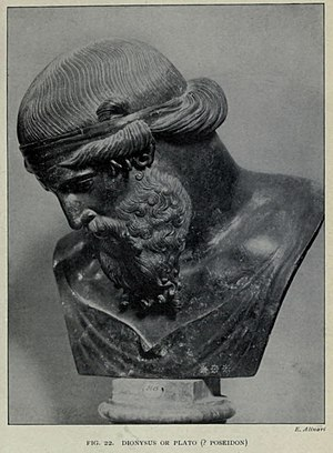 Plato - Bust excavated at the Villa of the Papyri, attributed to Dionysus, Plato or Poseidon. The bust may represent an idealized imagining of what Plato might have looked like at middle age.