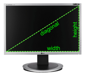 Diagonal - The diagonal is a common measurement of display size.