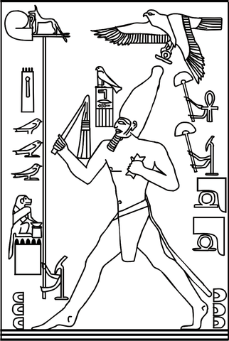 illustration of Pharaoh Djoser (3rd dynasty, c. 2670 BC) during the heb sed run
