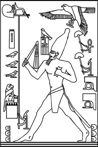 illustration of Pharaoh Djoser (3rd dynasty, c. 2670 BC) during the heb sed run