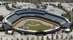 Dodger Stadium, also sometimes called Chavez Ravine, is a stadium in Los Angeles, California LCCN2013632695.tif