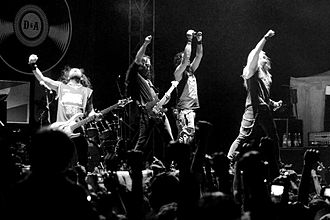DragonForce - DragonForce in Indonesia in 2013. From left to right: Frédéric Leclercq, Dave Mackintosh, Herman Li, Sam Totman, Marc Hudson and Vadim Pruzhanov.