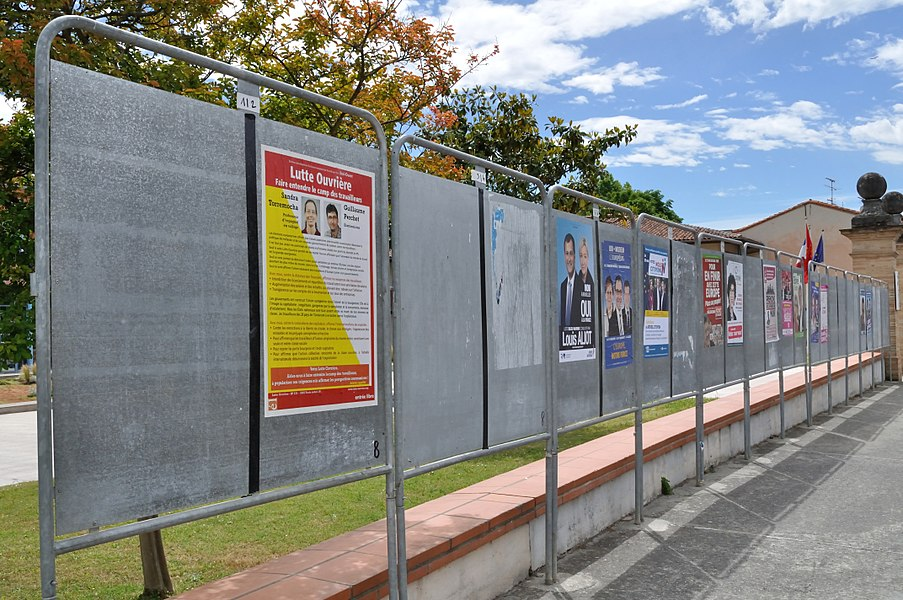 Election posters during the 2014 European elections campaign, in Castanet-Tolosan (South-West France)