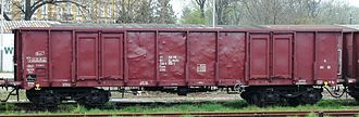 Open wagon - Eaos: A Polish (PKP), four-axle, ordinary, open wagon with 9.00 m bogie pivot pitch in Lubań