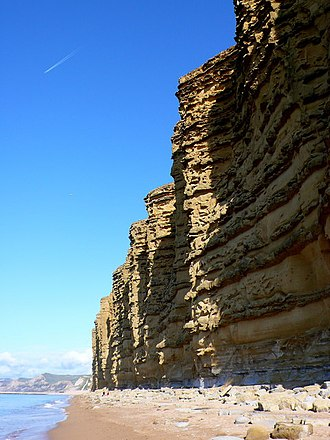 Geology of Dorset - The distinctive yellow cliffs near West Bay, formed of Bridport sand