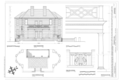 East Elevation, East Portico Plan, Portico Detail, and Railing Detail - Fenwick Hall Plantation, Northeast of intersection of River Road and Maybank Highway, Johns HABS SC,10-CHAR,413- (sheet 7 of 16).png