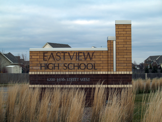Eastview High School - The Eastview High School sign on the corner of Flagstaff Avenue and 140th Street.