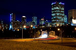 Downtown Edmonton - Image of Downtown Edmonton and Low Level Bridge from 98 Avenue
