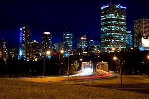 Downtown Edmonton - Image of Downtown Edmonton and Low Level Bridge from 98 Avenue