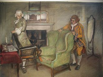 The Rivals - Bob Acres and His Servant, illustration by Edwin Austin Abbey, c. 1895