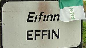 Effin - Sign on way into Effin village