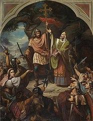 El rey Don Pelayo en Covadonga, de Luis de Madrazo. 1855.
