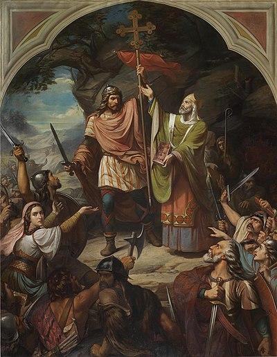 El lienzo representa la proclamación de Don Pelayo