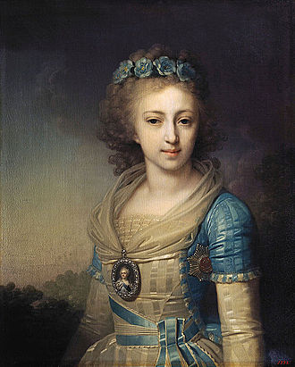 Grand Duchess Elena Pavlovna of Russia - Portrait by Vladimir Borovikovsky, 1796. Oil on canvas from the Gatchina Palace Museum, St Petersburg, Russia.