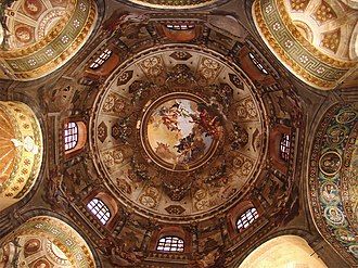 Basilica of San Vitale - The interior of the dome, with Baroque frescoes from the late 18th century.