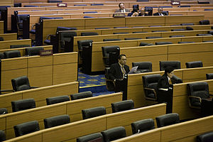 National Assembly of Thailand - Empty desks during a session.