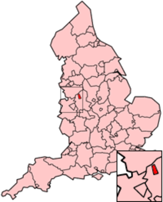 Potteries dialect - Location of Stoke-on-Trent on a map of England, Potteries dialect is mostly concentrated in this area of the country.