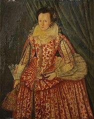 Portrait d'une dame, de trois-quart, dans une robe rouge et blanche, portant des gants et un éventail