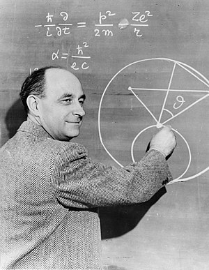 English: Enrico Fermi at the blackboard. Inter...
