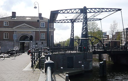 "The entrepot dock of Amsterdam completed in 1830 as a warehouse to store goods ""entrepot"", or tax-free in transit Entrepot dok Kadijksplein Amsterdam.jpg"