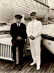 Ernest Shackleton with Captain Dix on S.S. Andes, 1922.jpg