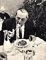 Erskine Caldwell eating tagliatelle during his Italian vacation, 1959.jpg
