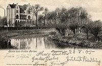 Eugen Kipke PC Gruss aus Justusgarten, Hannover, datiert 1905, Bildseite.jpg