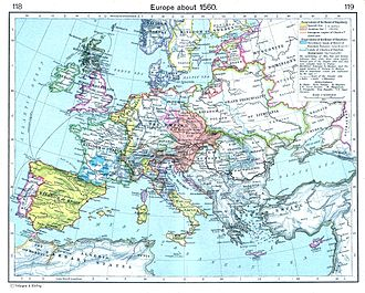 Early modern Europe - Europe about 1560, as in the 1923 William Shepherd Atlas