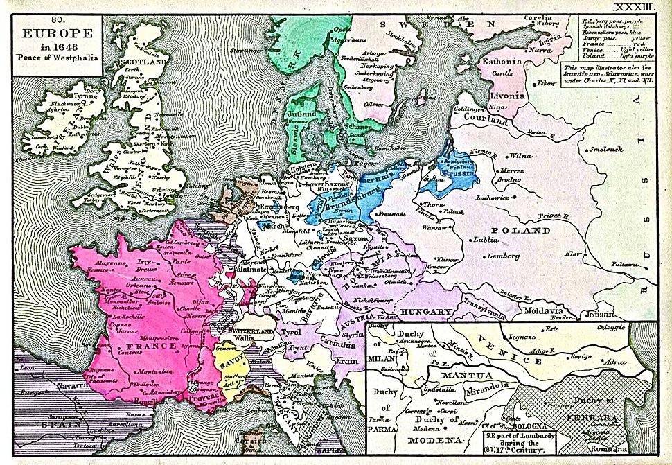 Europe in 1648 (Peace of Westphalia)
