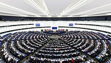 European parliament hemicycle in Strasbourg, France