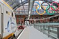Eurostar and the Olympic rings at St Pancras Station - panoramio.jpg