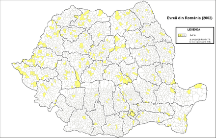 Jews in Romania (2002 census) Evrei Romania (2002).png