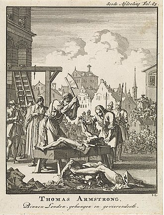 Treason - Engraving depicting the execution of Sir Thomas Armstrong in 1684 for complicity in the Rye House Plot; he was hanged, drawn and quartered.