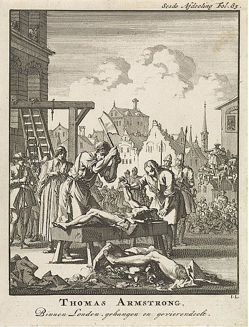 Engraving depicting the execution of Sir Thomas Armstrong in 1684 for complicity in the Rye House Plot; he was hanged, drawn and quartered. Execution of thomas armstrong 1683.jpg
