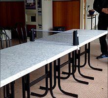 Exemple d'installation pour une partie de ping pong
