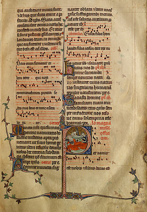 Liturgical music - Musical notation in a 14th-century English Missal