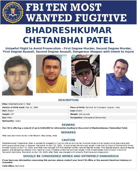DateiFBI Most Wanted Fugitive Poster Bhadreshkumar Chetanbhai Patelpdf