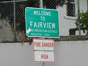 Fairview, California - Signage at entrance to city and fire protection district