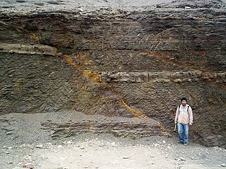 Fault (geology) - Normal fault in La Herradura Formation, Morro Solar, Peru. The light layer of rock shows the displacement. A second normal fault is at the right.