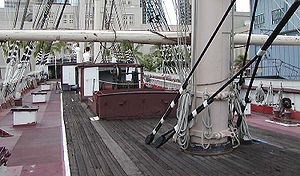 Deck (ship) - The upper deck of the Falls of Clyde is iron; a centre strip is planked with wood as a sort of walkway. As is typical for a late-19th-century vessel, several deckhouses may be seen.