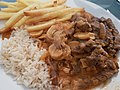 Falmouth June 2018 - Beef Strogonoff with rice & french fries (41620427455).jpg