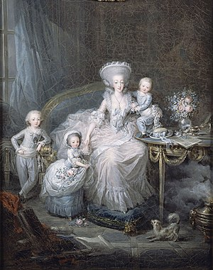 Maria Theresa of Savoy - Marie Thérèse with her three surviving children, by Charles Leclercq, 1783.